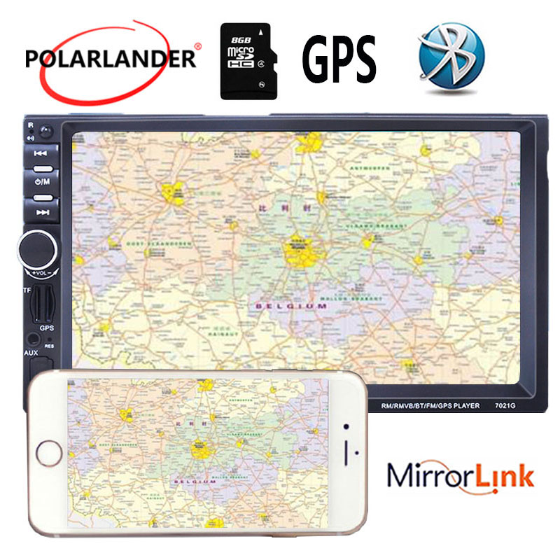 2Din Stereo MP5 Player FM USB 7Inch 8G Map Card GPS Navigation Mirror Link Screen Car Radio Mirror For Android Phone With Camera