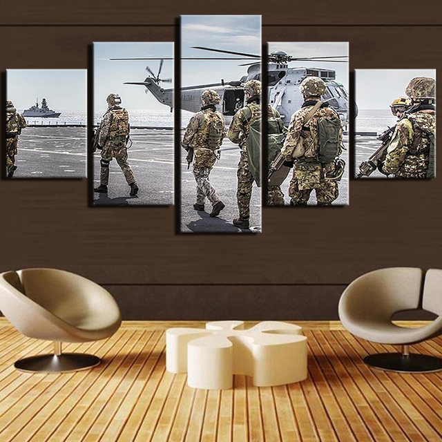 Paintings 5 Panel Military Aircraft Canvas Modern Frames Painting Soldiers  Cuadros Home Decor Art Print Modular