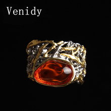 Venidy New Natural Stone Beads Fire Opal Ring Vintage Resizable Female 925 Sterling Silver Fine Jewelry Wedding Rings For Women