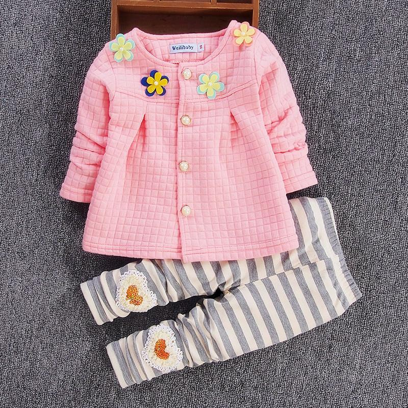 цены Baby Girl Clothes 2017 Spring Fashion Newborn Baby Clothing Set 3-24M Cotton Full Sleeve Suits for Baby Girls Pink,White,Yellow