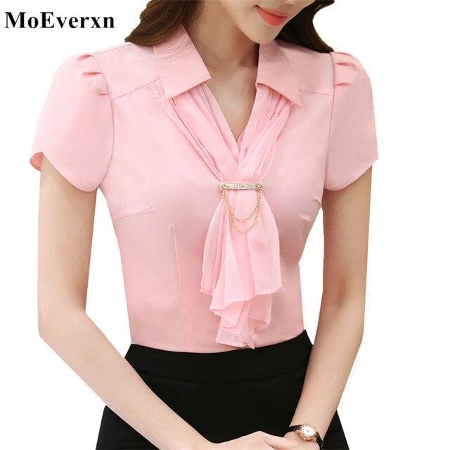 866d7f770 Mulheres Verão Chiffon Cachecol Gola Camisa de Manga Curta Tops Blusa Nova  marca Blusas Escritório Ladies