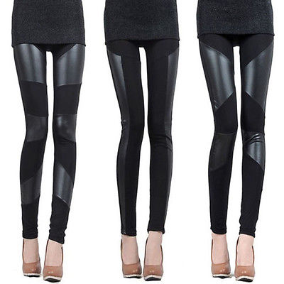 2016 Hot Sale Fashion Womens Black Faux Leather Patchwork  Leggings High Quality Trousers Pants