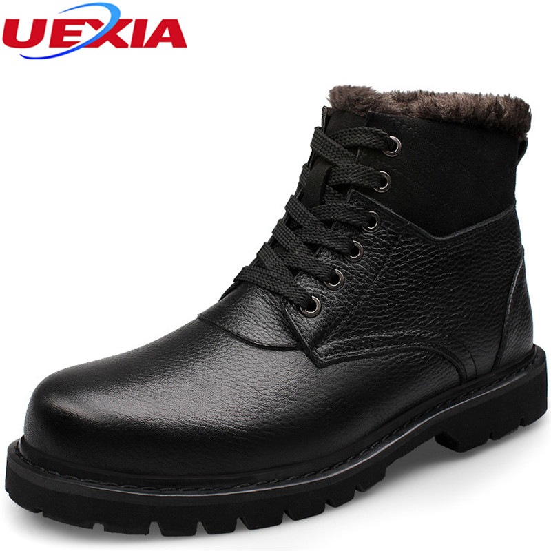 New Russian Style Couple Fashion Leather Men Ankle Boots Warm Winter Snow Fur Martin Boot Lace-up Warm Men Shoes Plus Size 37-47
