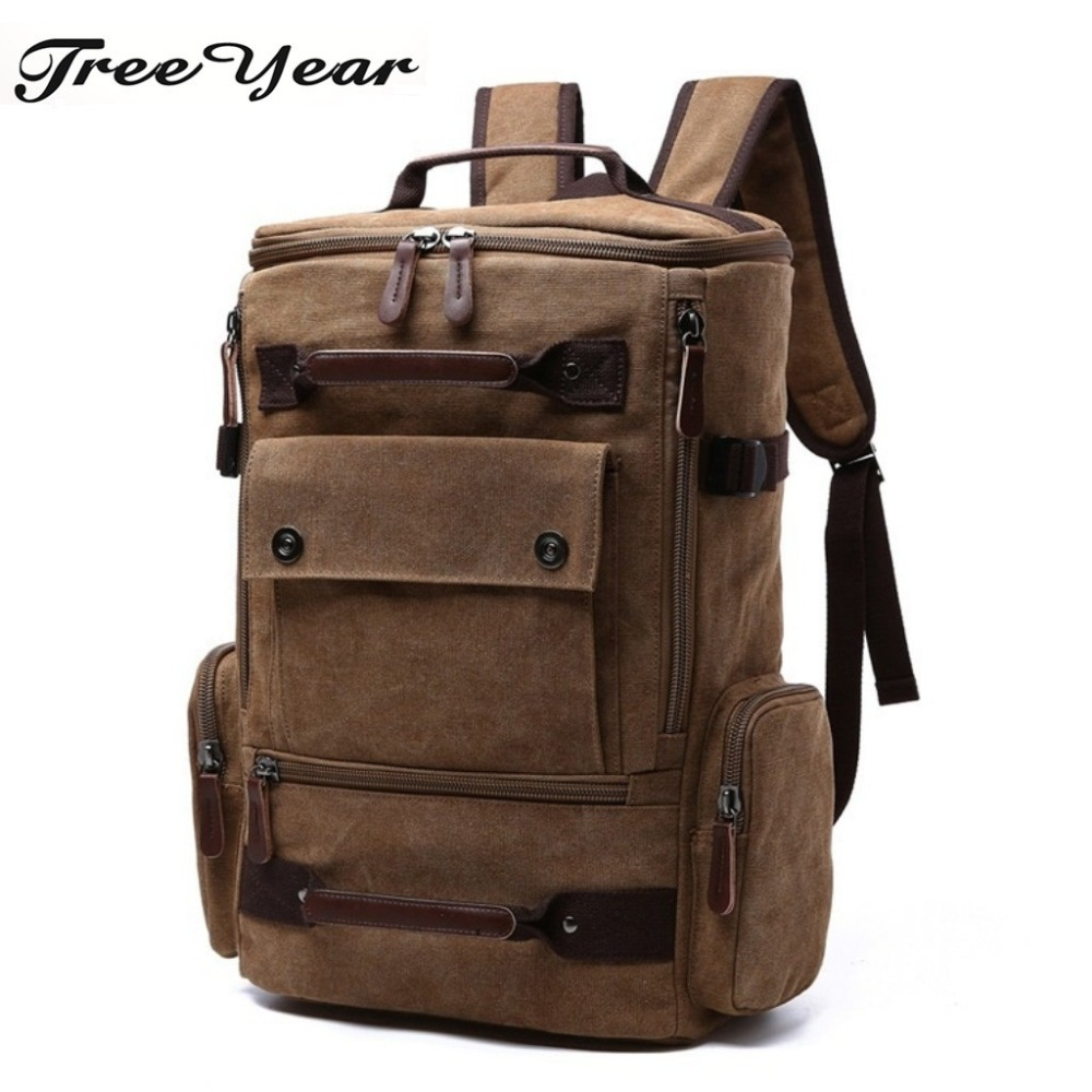 2018 New Casual Rucksack Travel Large Capacity Daypack Men's Canvas Backpack Vintage Student School Bags For Teenager Laptop Bag big capacity tactical canvas backpack vintage laptop bags hiking men s backpack schoolbag travel rucksack outdoor daypack me0888