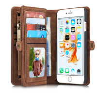 i8 Luxury Genuine Leather Case for Apple iPhone 7 8 Case Wallet Flip Phone Bag Case Leather Coque Multi Functional Stand Caseme