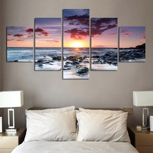 5 pieces withframed Wall Art Picture Gift Home Decoration Canvas Print painting beautiful sea Sunset wholesale