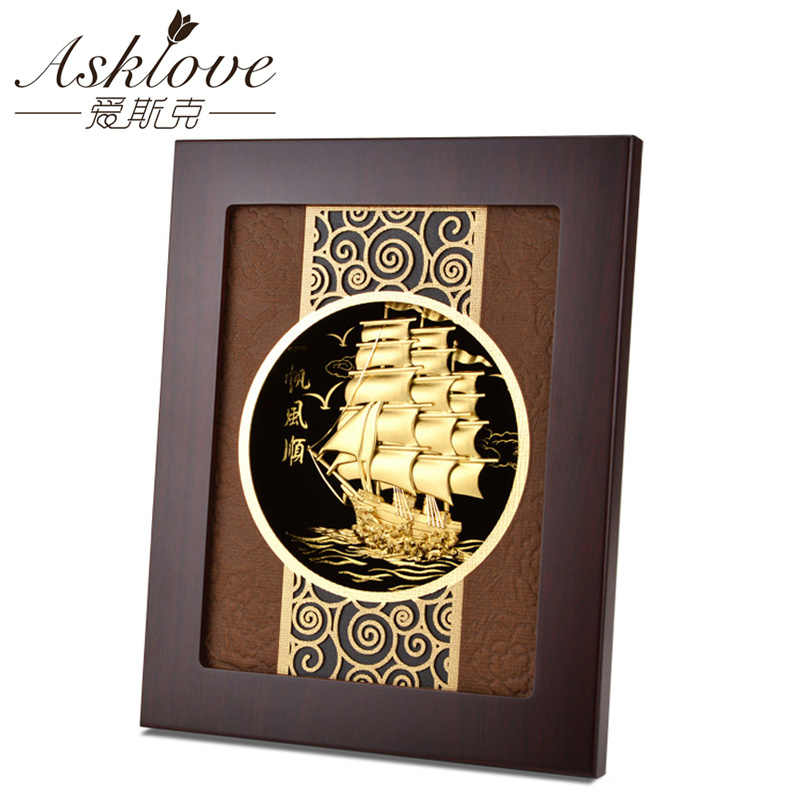 Asklove Gold Foil Painting 3D Sailboat Framed Pictures Birthday Gift Gold Crafts Modern Wall art Picture Display Home Decoration