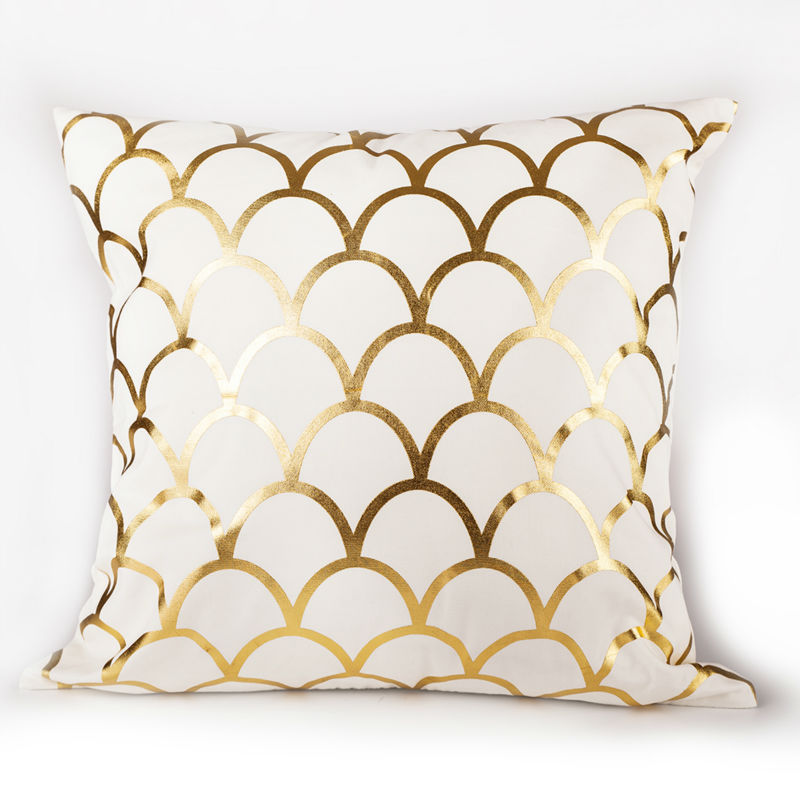 Buy gold print matelic cotton pillowcase cushion for home decorative sofa - Enhance your home decor with fancy cushions ...