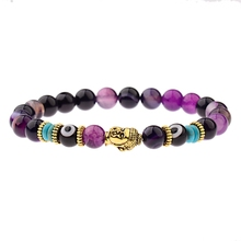Charm Buddha&Evil Eye Bracelet Women 8mm Elastic Round Bright Black Stone Chakra Bracelets Men Erkek Bileklik Homme