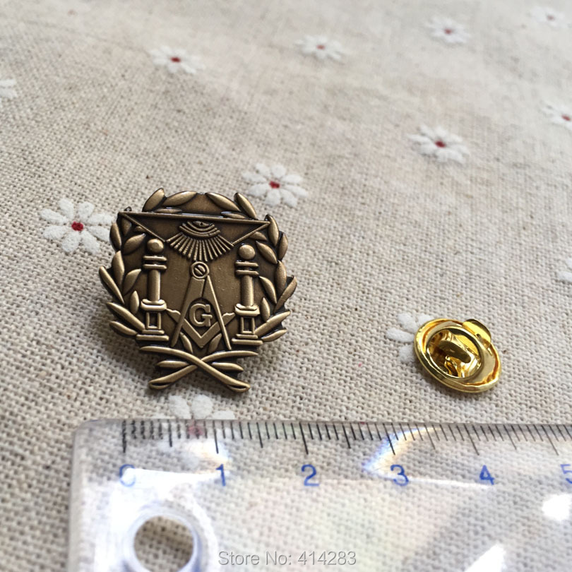 100pcs Masonic Wreath Double Column Lapel Pin Freemasonry Free Masons Brooch Pins Badge Lodge Square and Compass with G