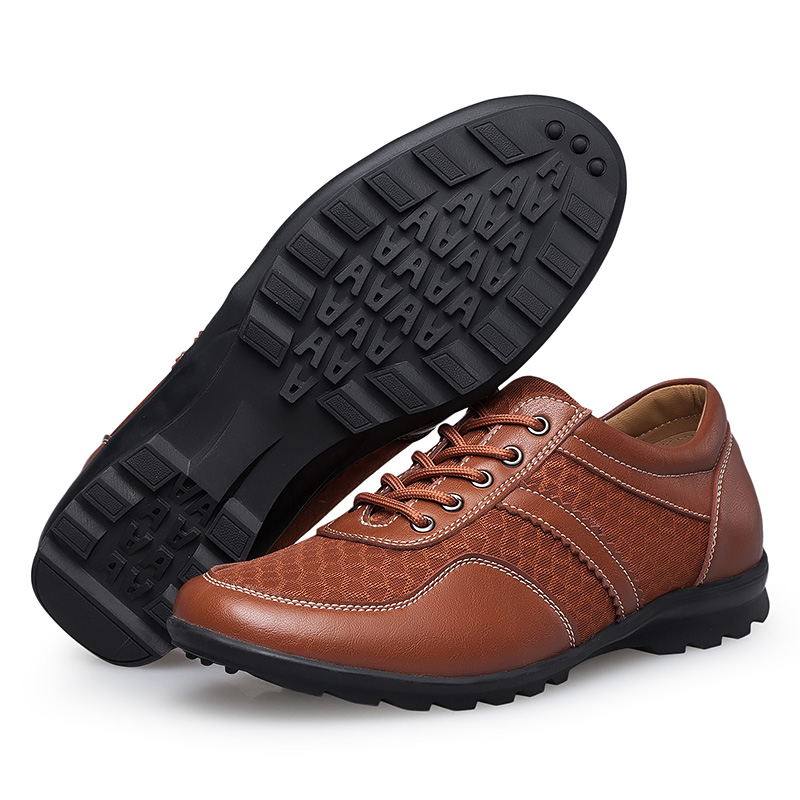 ФОТО ERU38-47 2016 Summer Mesh Shoes Men Lace Up Casual Sport Leather Driving Shoes Male Plus Size Ultra-light Walking zapatos hombre