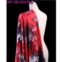 Good 1 meter Red Silk Fabric Elastic Satin Silk Cloth Magnolia Flower Printed Silk Fabric DIY Sewing Cheongsam Dress Clothing