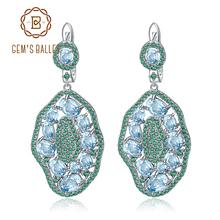 GEM'S BALLET 7.74Ct Natural Sky Blue Topaz Hyperbole Earrings 925 Sterling Sliver Gemstone Vintage Drop Earrings For Women Party