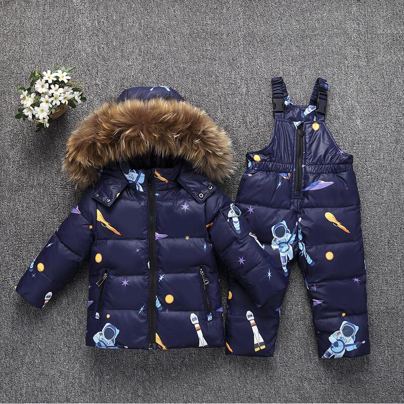 купить -30 Degree Russia Winter Baby Boy Girl Clothing Sets Kids Down Suits Casual Toddler Baby Down Jacket Overalls Outerwear+Jumpsuit недорого