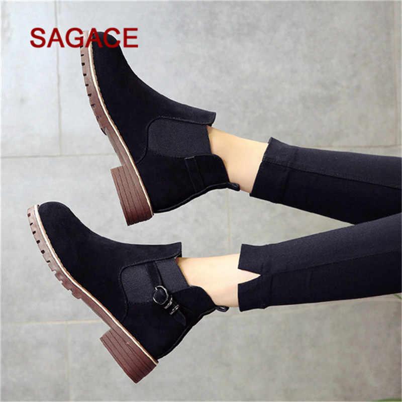 SAGACE Çizmeler Kadın Yuvarlak Ayak Ayakkabı Düz Patik Toka Kayış Süet Düz Renk Martin Çizmeler