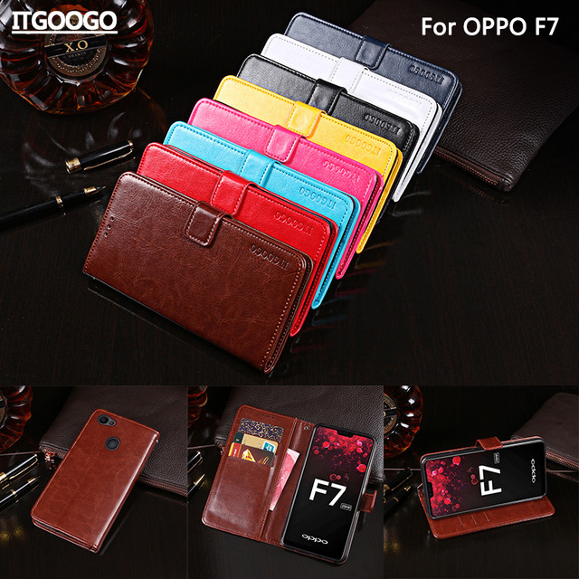 competitive price 40e84 3a625 US $6.79 15% OFF|Itgoogo For OPPO F7 Case Cover Luxury Leather Flip Case  For OPPO F7 Protective Phone Case Back Cover Wallet Case-in Flip Cases from  ...
