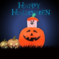 1.2m Inflatable Halloween Pumpkin Ghots Creative Outdoor Halloween Wizard Yard for Halloween Festival Decoration