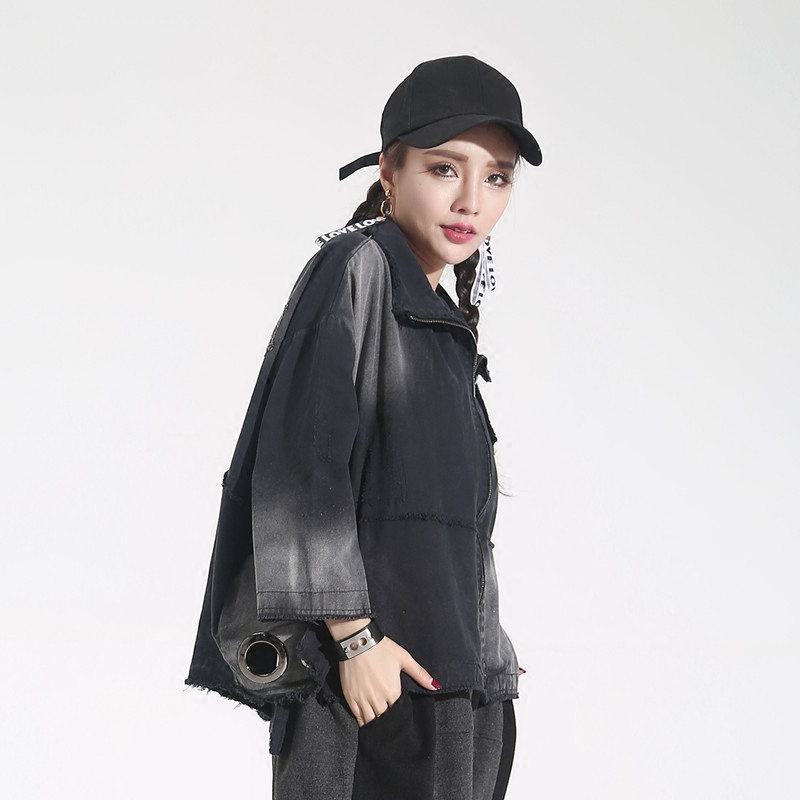 Effilochés Black Évider Noir Manteaux Street Vintage Lettre Survêtement Mode Printemps Cravate Teints Style Imprimé Automne Jq303 Harajuku Femme w0xTBq51q