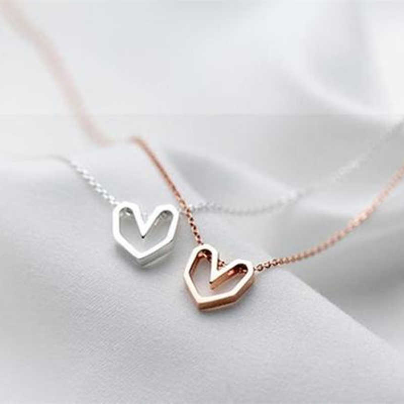 Minimalist Femme Heart Necklaces Rose Gold Origami Necklace Women Bridesmaid Gift Boho Jewelry Stainless Steel Chain Collar 2019
