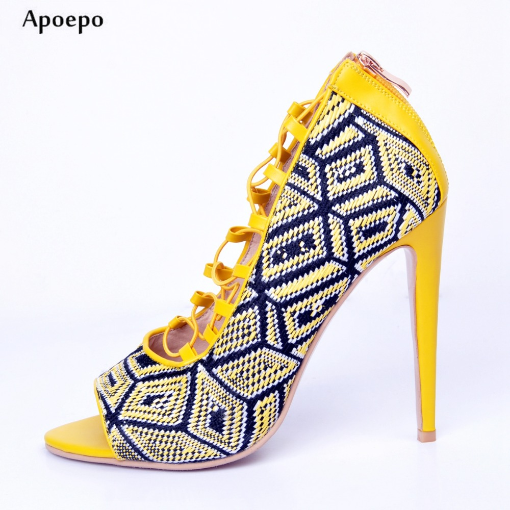 Apoepo Newest High Heel Sandal for Woman 2018 Sexy Open Toe Lace-up Sexy Sandal Cutouts Gladiator Shoes Geometric Summer Sandal 2017 newest summer black brown leather sandal for woman sexy open toe flat crystal sandal sequins bead t strap buckle shoes