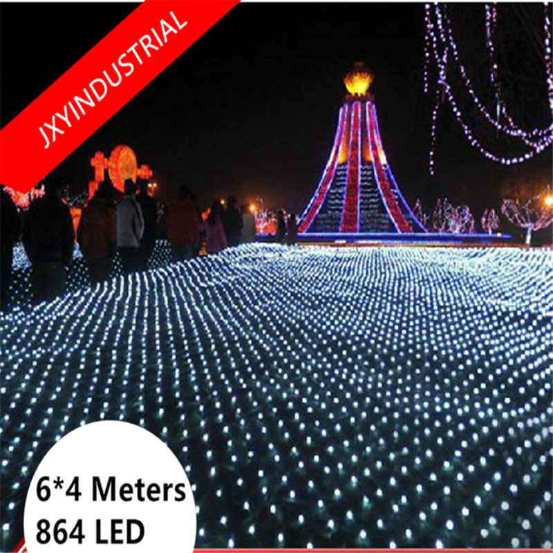 Free Shipping Led Net Lights 4m*6m 864leds Large Outdoor Christmas Decoration Garden Mesh Fairy Light Waterproof AC 220V 8 modes