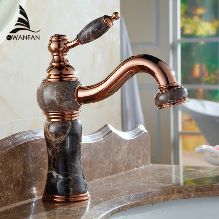 цена на Basin Faucets Rose Gold Bathroom Sink Taps Marble Home Decoration Vanity Classic Single Handle Brass Hot and Cold Tap AL-8912E