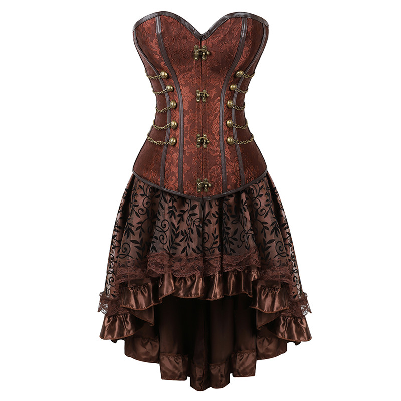 Women Steampunk Gothic Overbust Corset Dress Brocade Lace Up Corsets and Bustiers with Layed Skirt