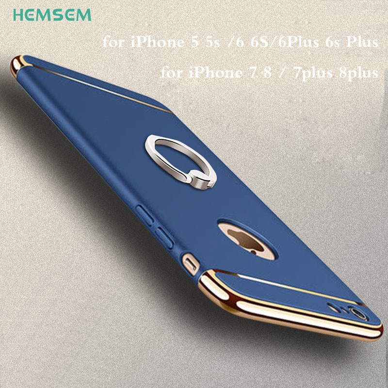 luxury finge ring holder on case hard shockproof cases for iPhone 5 5S 6 6S 7 8 plus 7plus case cover 3in1 3D plating silk shell