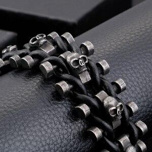 Image 4 - Retro Schedel Man Armband Mannelijke Hiphop Rock Heren Lederen Wrap Armbanden & Bangles Zware Effen Rvs Biker Sieraden Mannen
