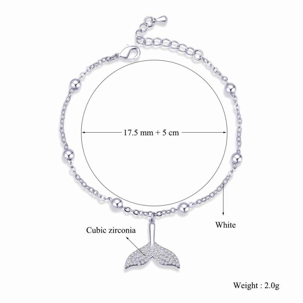 ERLUER charme pulseiras de Cristal para as mulheres da sereia da cauda acessórios de jóias pulseira de Zircão jóias fasion Menina bead ajustável