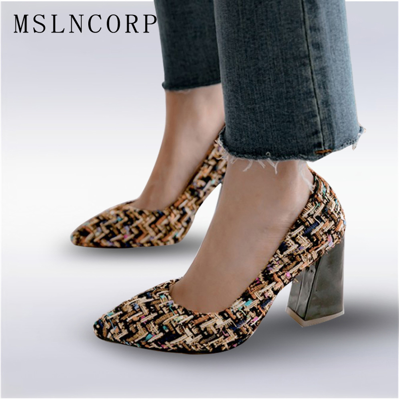 Plus Size 34-46 New Thick Heels Pumps Mixed Colors Tweed pointed Toe Spring Summer Casual Shoes square high heels Women OL Pumps 017 new women sandals pointed toe slip on casual summer mixed colors shallow back strap women casual shoes black brown 4 10