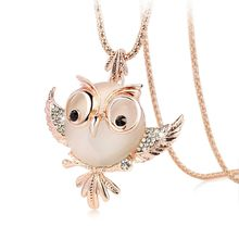 New Trendy Chubby Owl font b Necklace b font Fashion font b Rhinestone b font Crystal