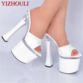 Fashion Banquet Wedding Shoes Princess 18cm Ultra High Heels Platform Female Slippers 7 Inch Spool Heels latform Female Slippers