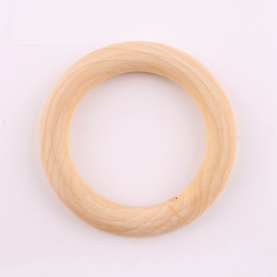 3PC 70mm Maple Wooden Ring Charms Nursing Accessories Chewable Ring Food Grade Wooden Teether Original Wood Charms DIY Crafts