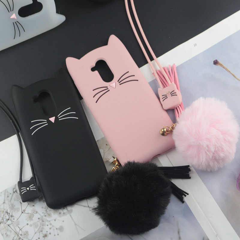 Cute 3D Cartoon Silicon Case for Huawei Honor 6A Cases Japan Glitter Beard Cat Lovely Ears Kitty Phone Cover for Honor 6A Pro