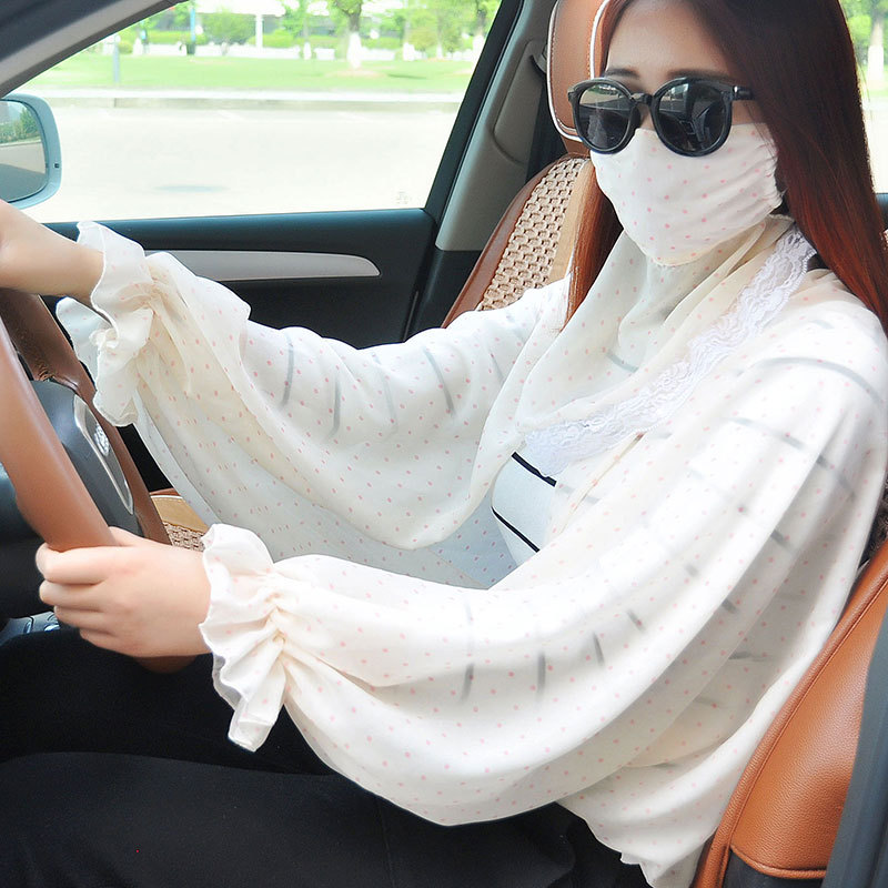3pcs/Pack Women Face Mouth Masks Sun Summer Motorcycle  Two Female Anti Ultraviolet Protective Neck Mask Sleeve Chiffon Scarf