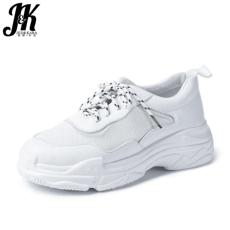 JK 2018 Casual Women' S Vulcanize Shoes Round Toe Mesh Footwear Lady Dorky Dad Shoes Female Platform Sneakers Shoes Woman Autumn