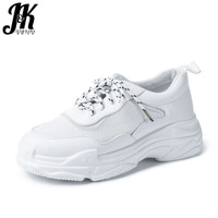 JK 2018 Casual Women' S Vulcanize Shoes Round Toe Mesh Footwear Lady Dorky Dad Shoes Female Platform Sneakers Shoes Woman Autumn
