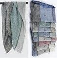 2016 Women Ombre Pattern Stripe Pattern Pure Cotton Soft Fringe Scarf 8Colors 10pcs/lot