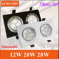 Freeshipping 10X 12w 20W 28W Led Ceiling Epistar LED Ceiling Lamp Recessed Spot Light Downlight 110V