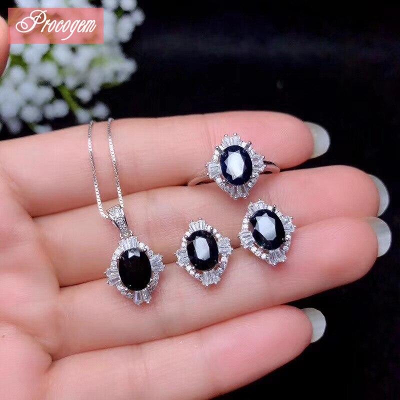 Natural zafiro juegos de joyas para mujer 6x18mm genuino collar de piedras preciosas/anillo/Stud pendientes joyería fina S925 18K Whitegold #111