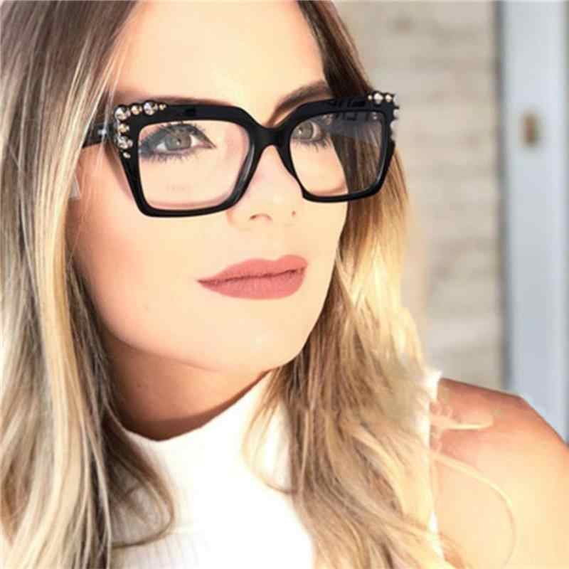 14461dca5e88 Oversized Square Glasses Spectacle Frame Women Eyeglasses Myopia Optical  glasses Clear Lens Fashion Computer Glasses fake