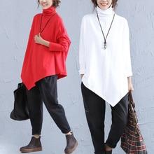 2016 autumn spring plus size cotton clothes expansion irregular bottom turtleneck shirt long sleeve T-shirt female long shirts