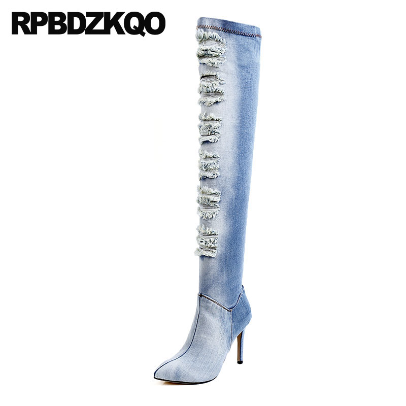 Sexy Jeans Thigh High Stiletto Women Blue Denim Boots Knee Shoes Heel Long Pointed Toe Big Brand Fall Crotch Dance Slim Designer streetwear straight denim big ripped jeans tousers blue color mens hole jeans designer logo brand dsel jeans men 29 40