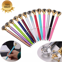 50PCS High Quality Crystal Ballpoint Pen Luxury 1.0MM Nib Crystal Ball Pen Custom Logo School Office Supplies Christmas Gift