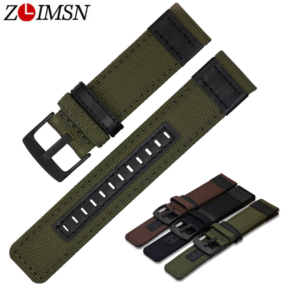 ZLIMSN New Nylon Mesh Watch Band Strap Men's Women Sport Watches Belt Accessories 22mm 24mm Watchband Brown Black Green цена