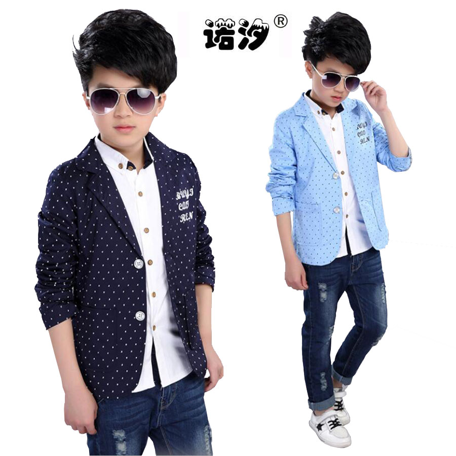 Boys casual clothes Leisure Suit Western-style Clothes 4-15 Y Boys Cotton Polka dot Turn-down Collar jacket kids autumn outwear Рубашка