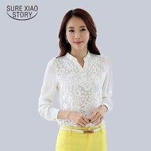 2015 nuevo de alta calidad blusa de encaje de ganchillo abalorios blanco de manga larga camisa de gasa femenino renta más mujeres clothing 60b6