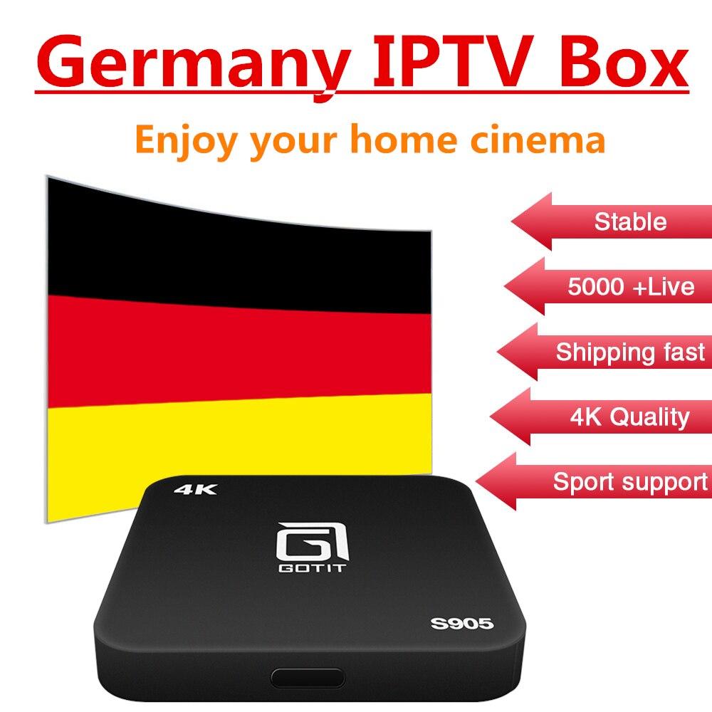 Germany Sweden Europe IPTV Box S905 1GB 8GB Android TV BOX 7.1 4K H.265 KODI 16.0 Amlogic S905X+smart tv iptv box free shipping