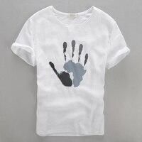 Italia nuovo design estate bianco t shirt uomo in cotone e lino misto t-shirt da uomo a maniche corte di marca clothing casual t camicette mens camisa